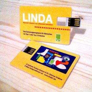 LINDA USB-Stick, Vorder- und Rückseite