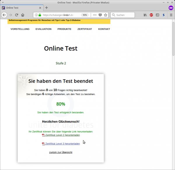 Muster Online-Test mit Zertifikaten